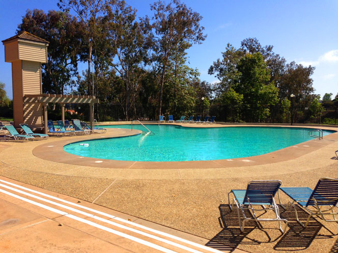 View of the Dana Woods Community Pool in Dana Point, California