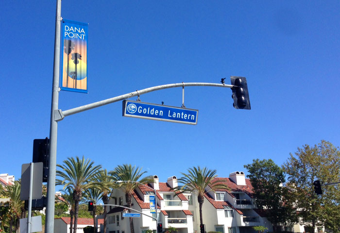 Golden Lantern Street Sign in Dana Point, California