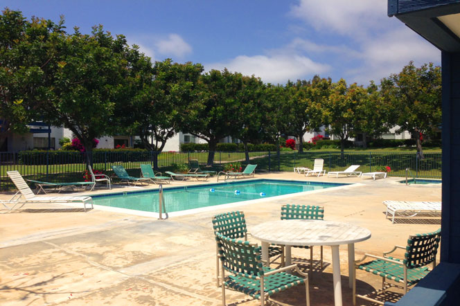 Marbella Racquet Club community pool in Dana Point, California